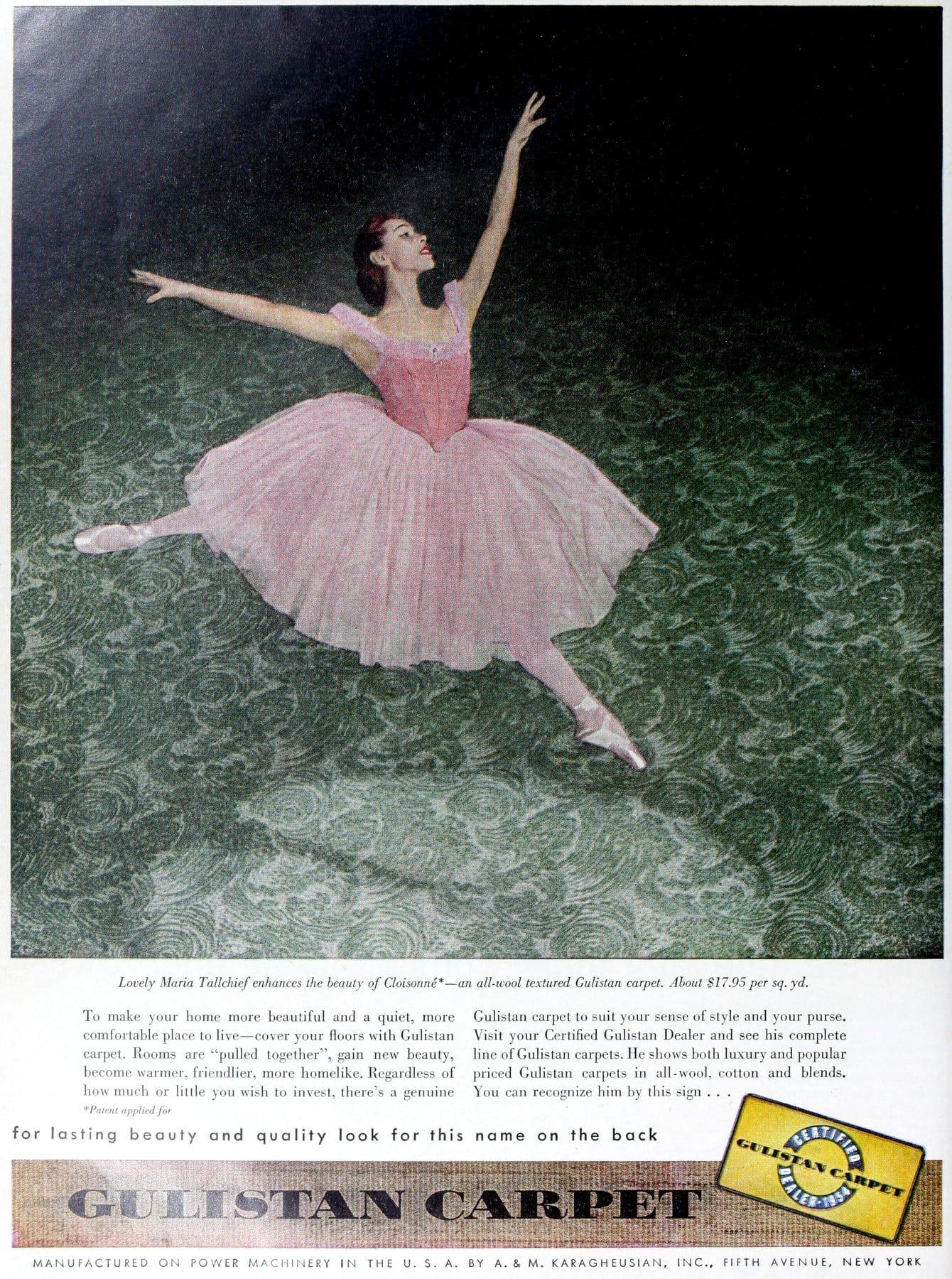 Vintage Gulistan textured green carpet (1954)