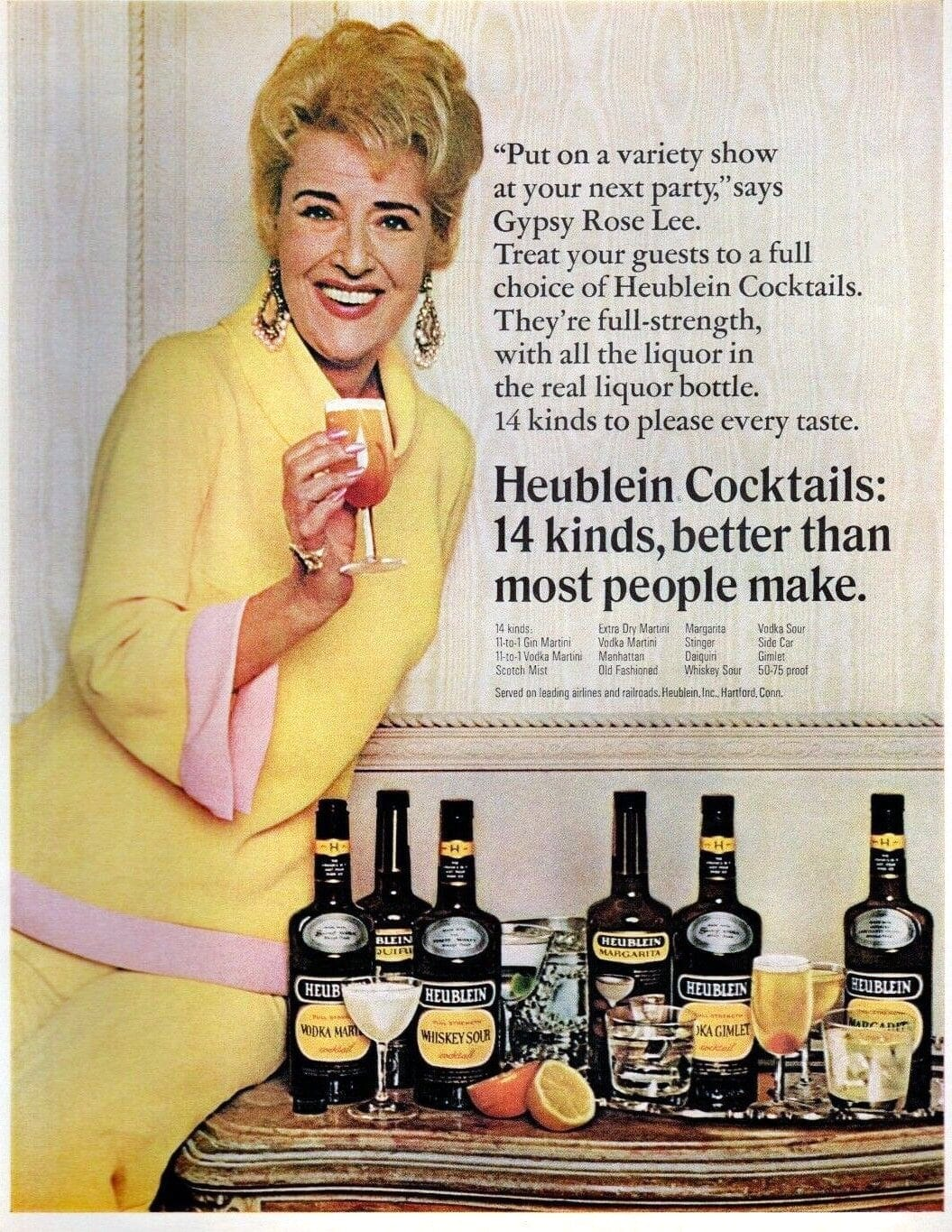 Vintage Gypsy Rose Lee ad for easy cocktail mixes from Heublein