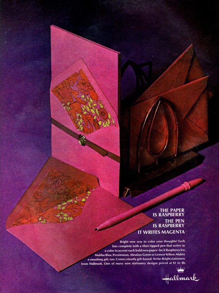 Vintage Hallmark magentaraspberry pen and paper set(1968)