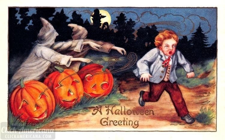 History of Halloween card - Boy scared by ghouls and pumpkins