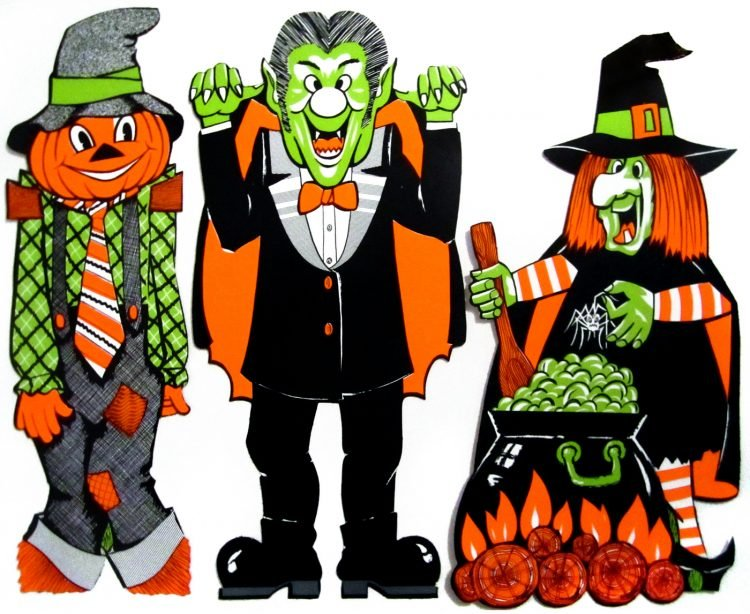 Vintage Halloween cutout decorations from the 1970s