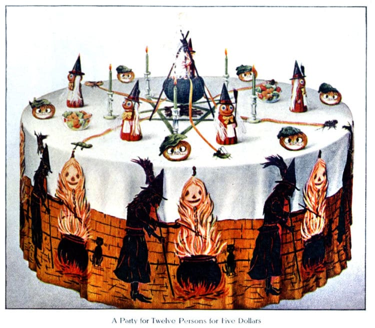 Vintage Halloween party decorations -The Witch Table