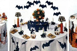 Vintage Halloween party table decorations
