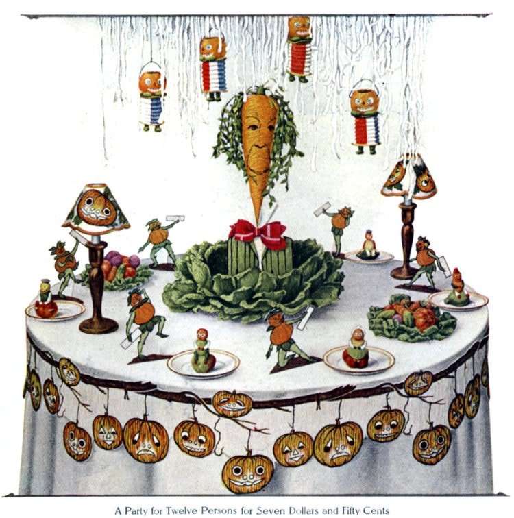 Vintage Halloween party table decorations - Pumpkin and vegetable table