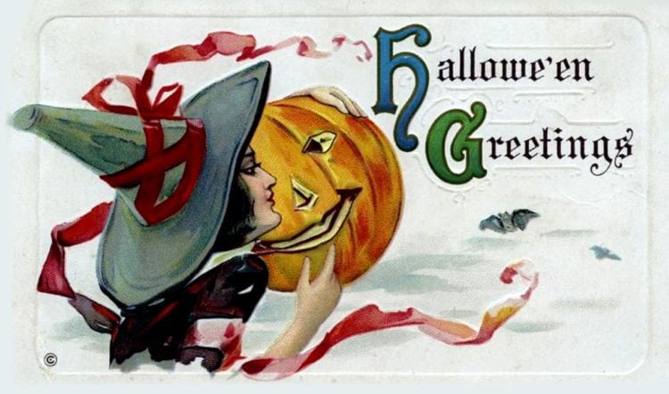 Vintage Halloween postcard - witch and pumpkin