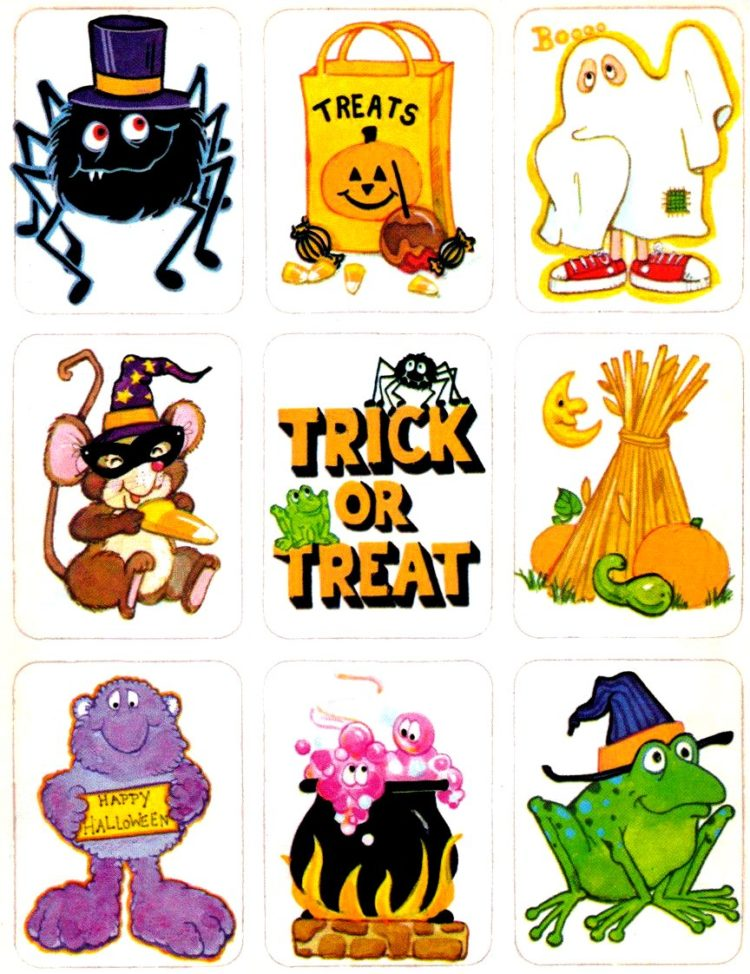 Vintage Halloween stickers - Characters and sayings for trick or treat and costumes