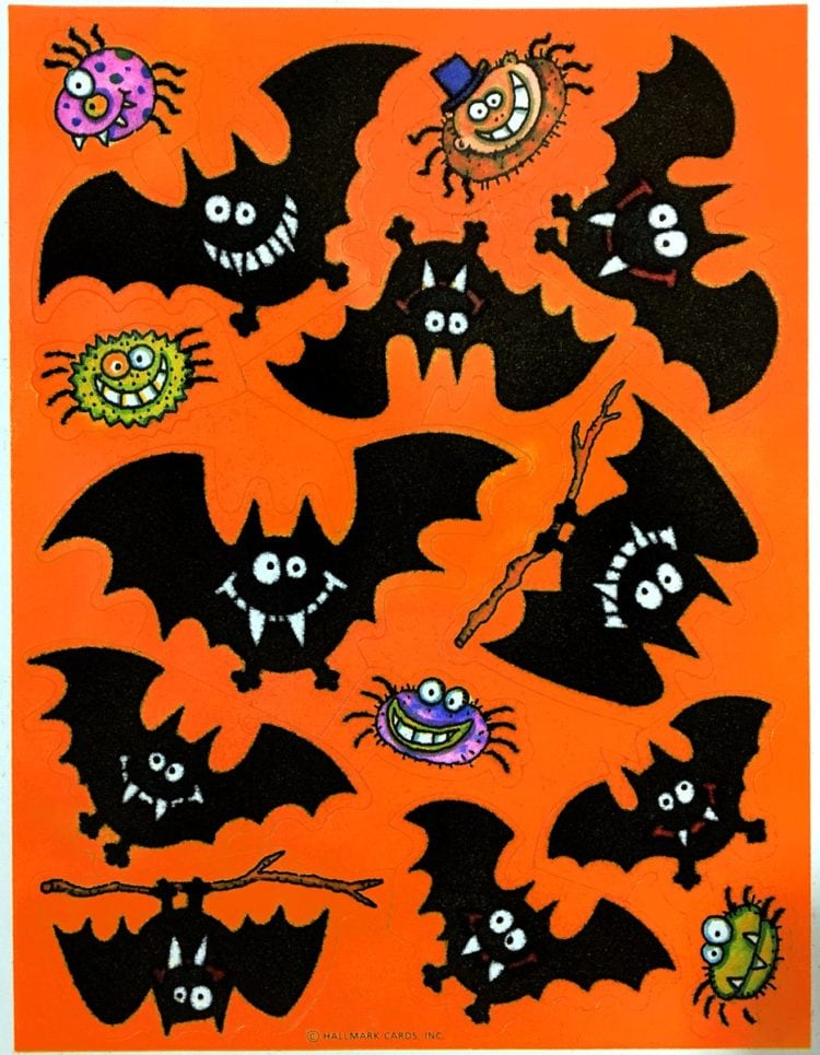 Vintage Halloween stickers - Fuzzy bats