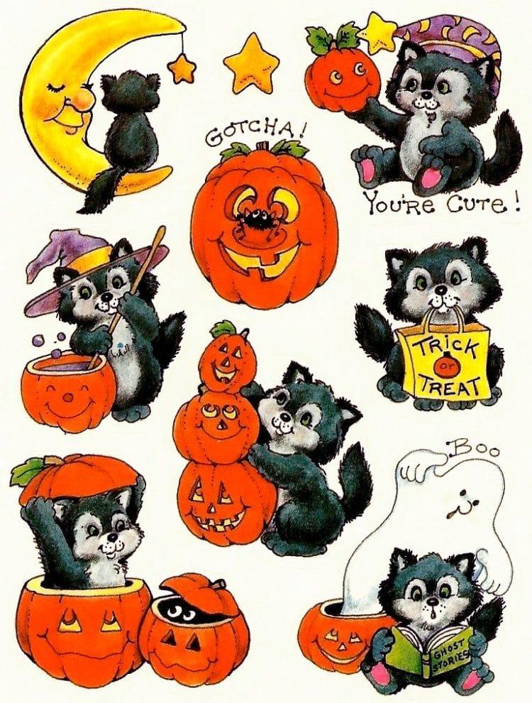 Vintage Halloween stickers - Pumpkins and animals