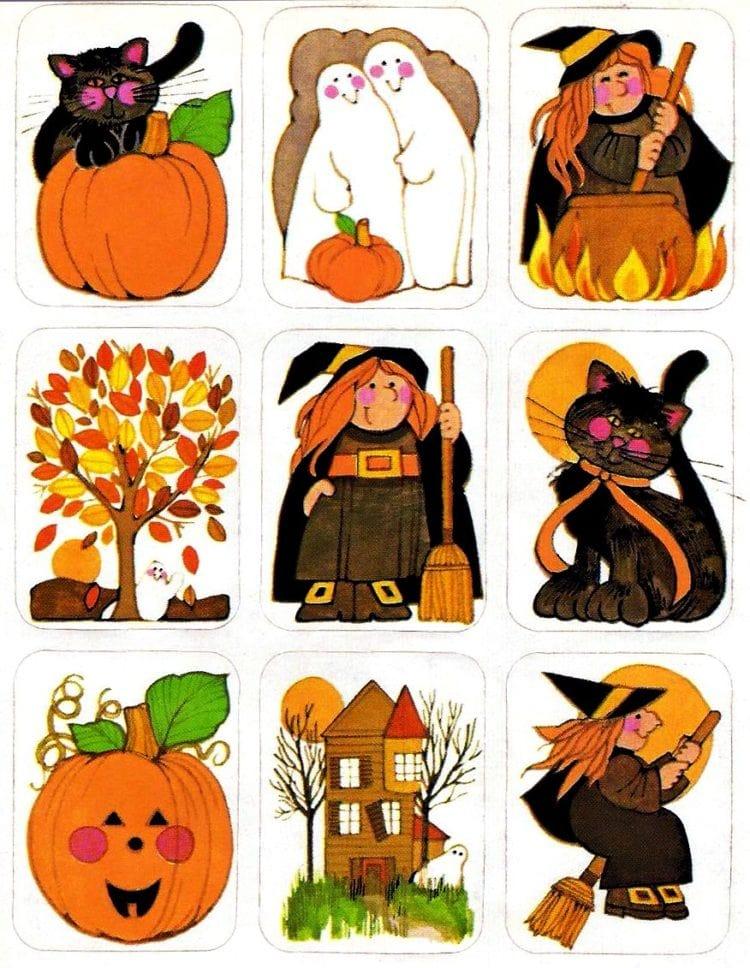 Vintage Halloween stickers - Rectangular character stickers