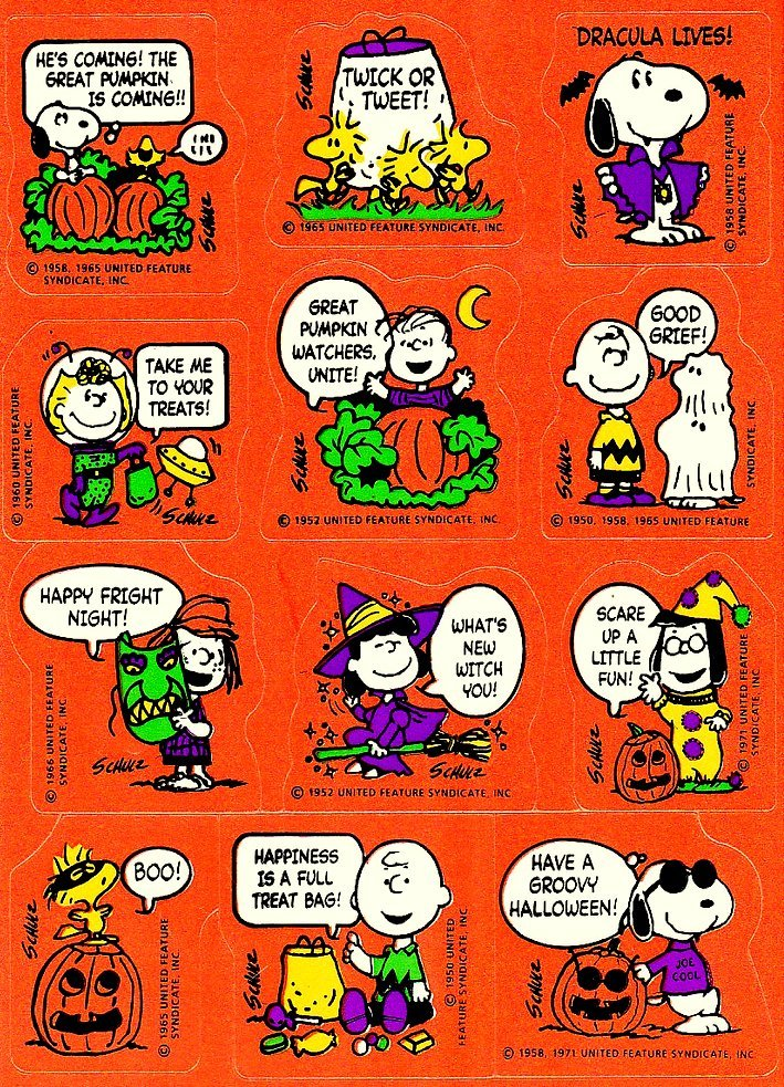 Vintage Halloween stickers - The Peanuts characters