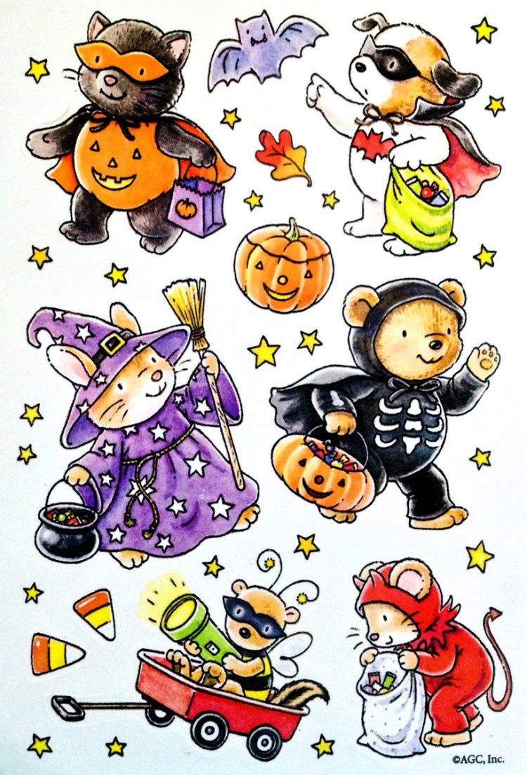 Vintage Halloween sticker sheet - Watercolor animals