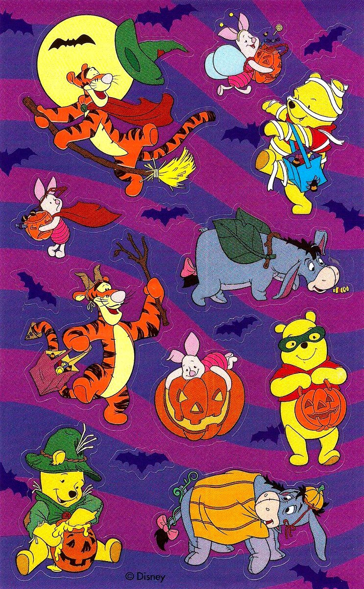 Vintage Halloween stickers - Winnie the Pooh characters