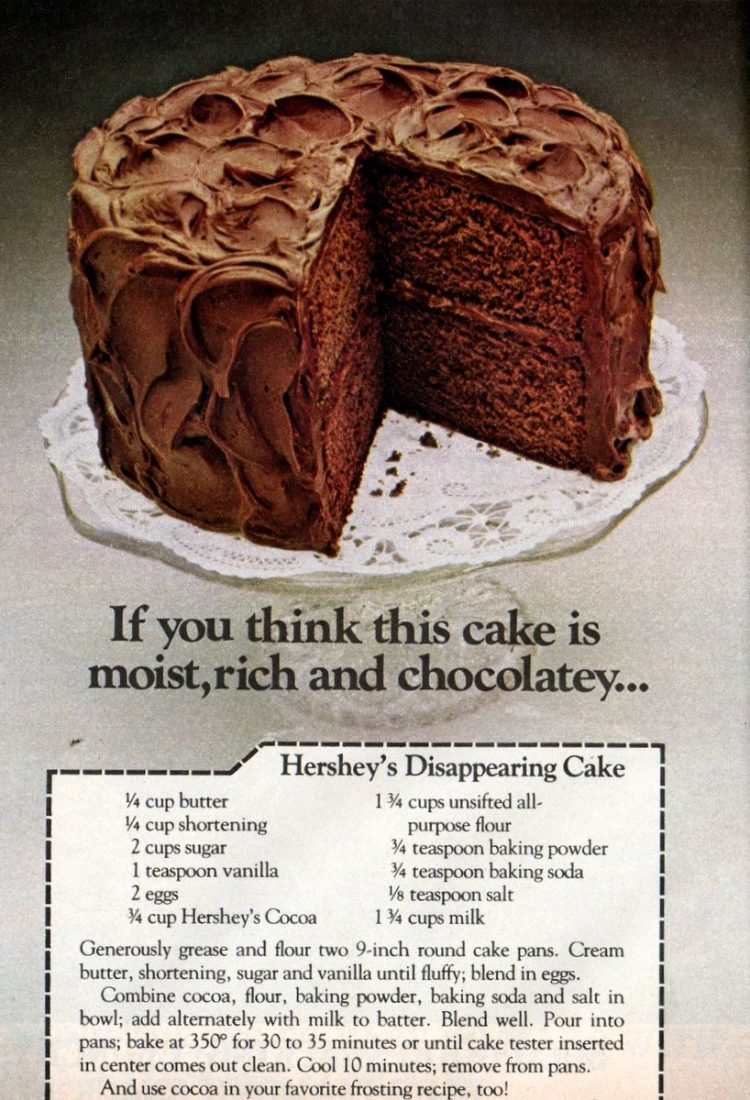 Vintage Hershey's Disappearing Chocolate cake recipe - 1978 (3)