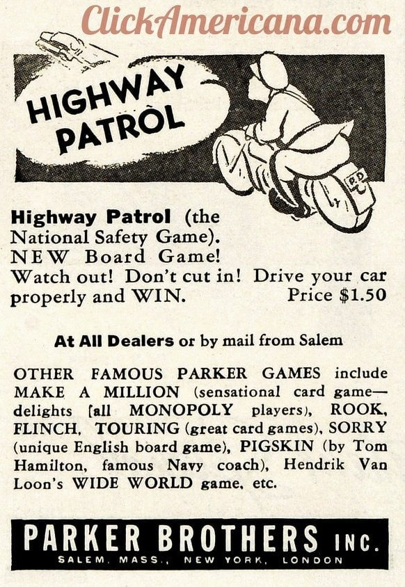Vintage Highway Patrol board game from 1936 - Parker Brothers