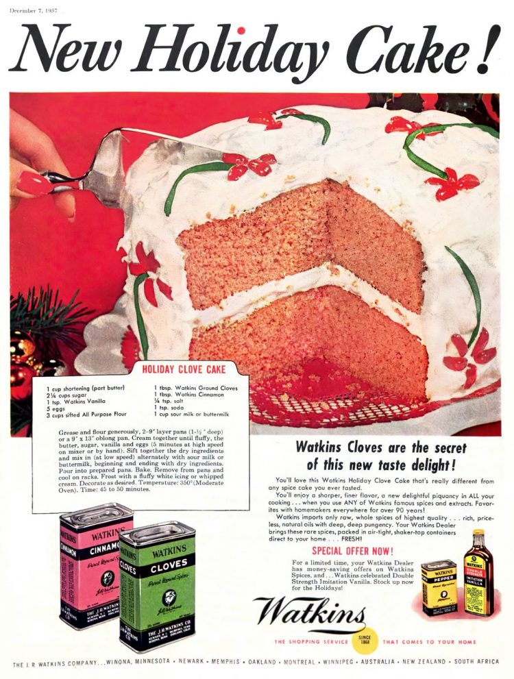 Vintage Holiday clove cake recipe from 1957 (2)