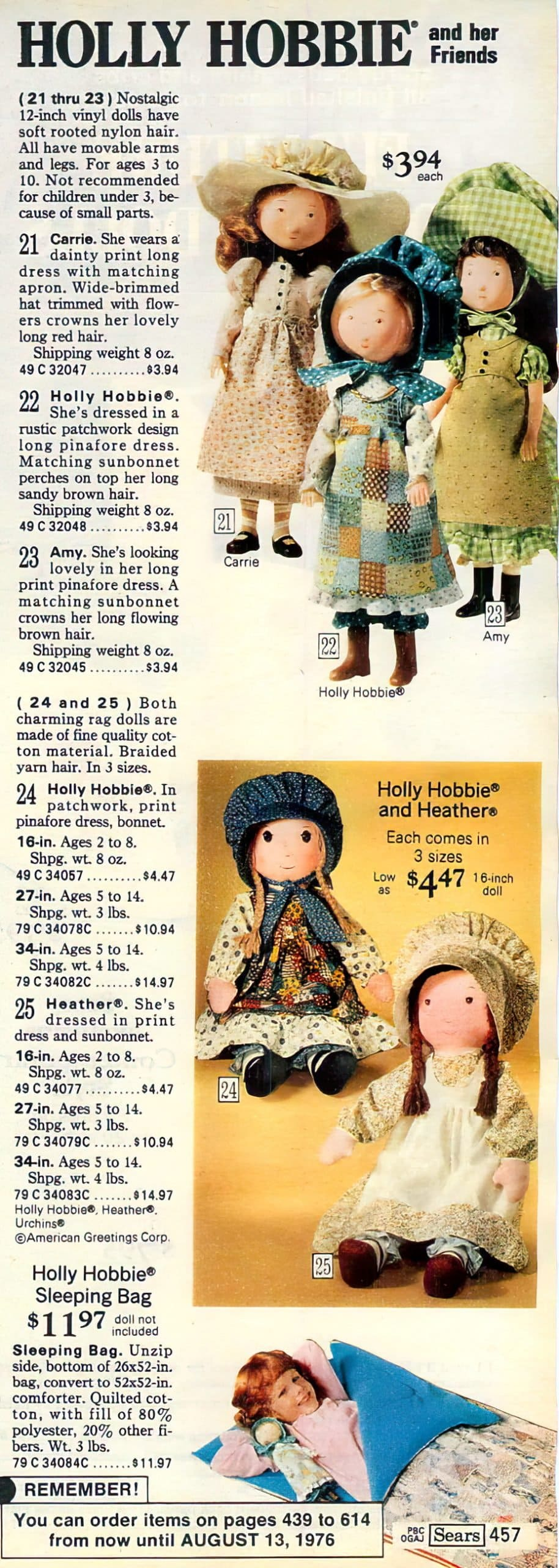 Vintage Hollie Hobbie toys and dolls at Sears 1975
