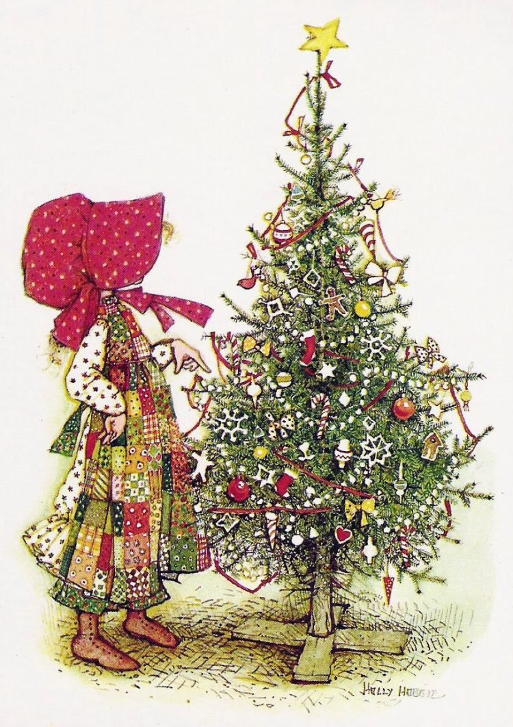 Vintage Holly Hobbie Christmas card from the 1980s