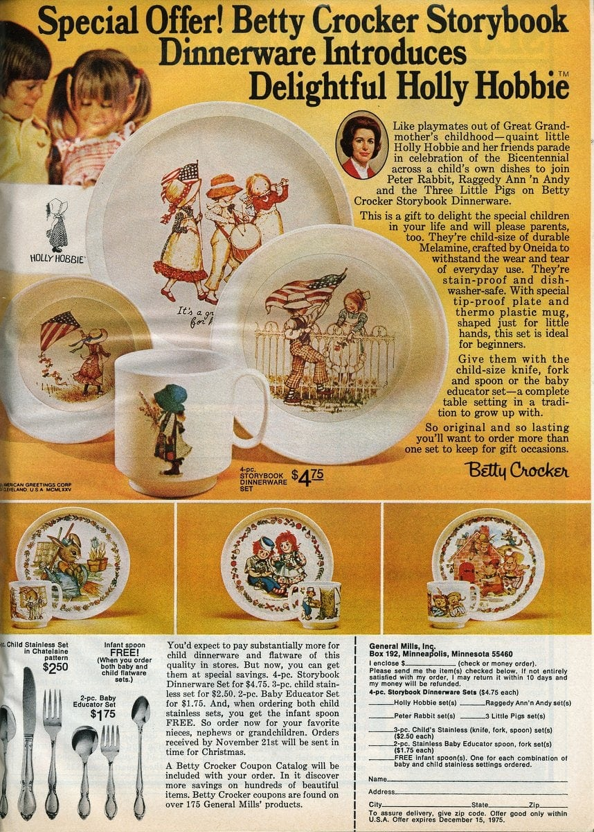 Betty Crocker Storybook Dinnerware -- Holly Hobbie (1975)