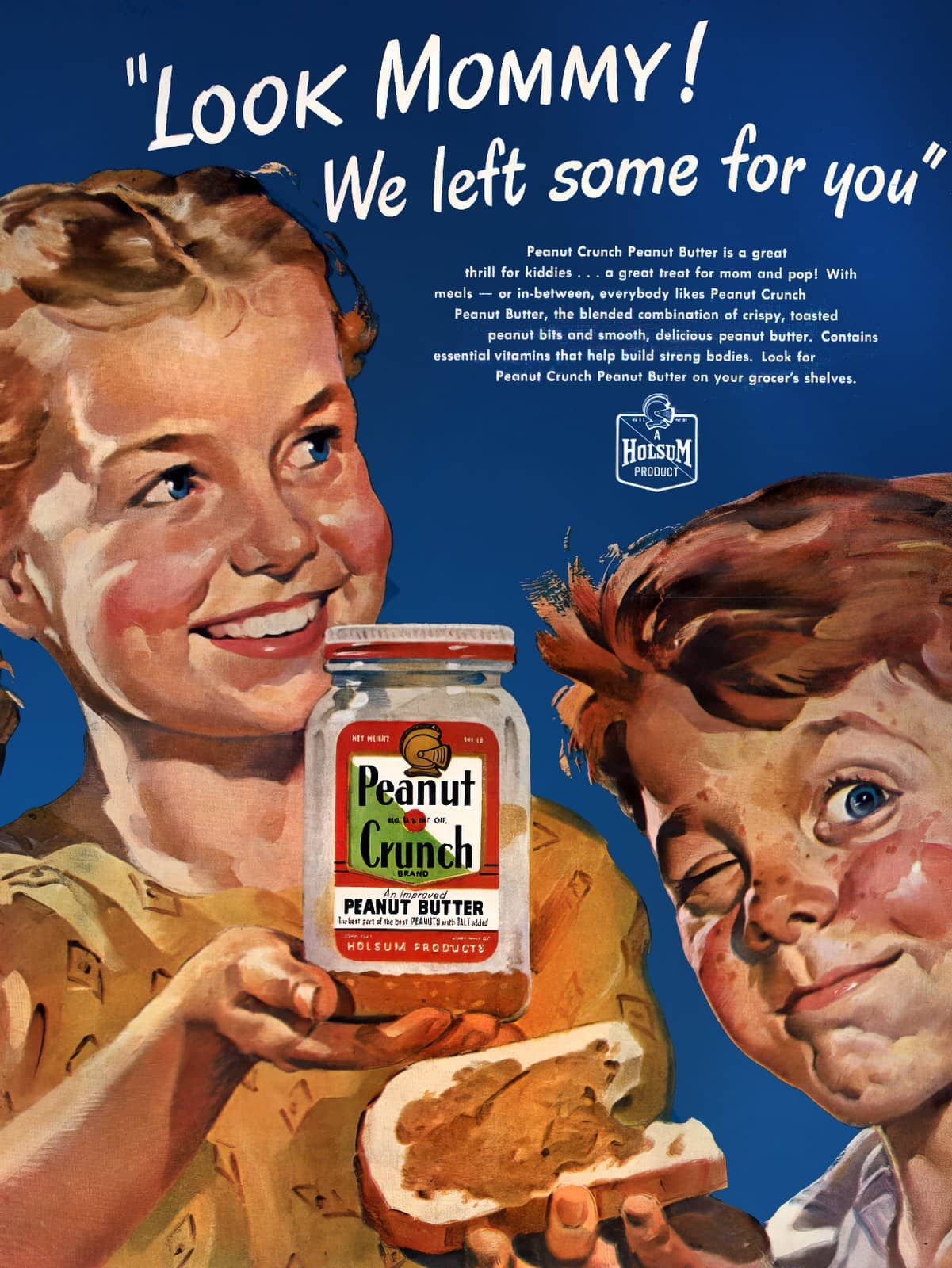 Vintage Holsum Peanut Crunch peanut butter (1950s)