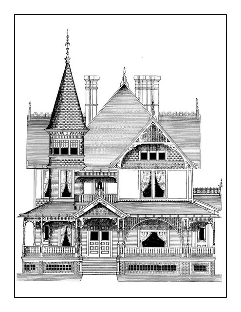 Vintage Homes Adult Coloring Book 2 - Classic Victorian Houses (1)