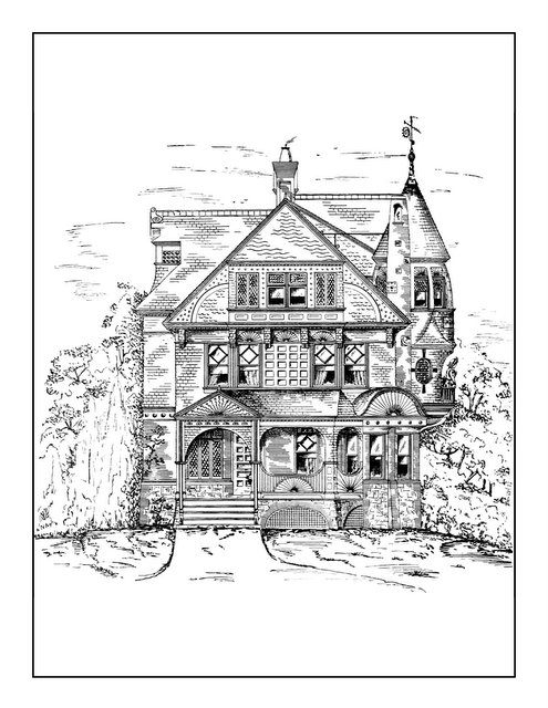 Vintage Homes Adult Coloring Book 2 - Classic Victorian Houses (2)