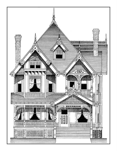 Vintage Homes Adult Coloring Book 2 - Classic Victorian Houses (3)