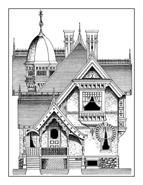 Vintage Homes Adult Coloring Book 2 - Classic Victorian Houses (4)