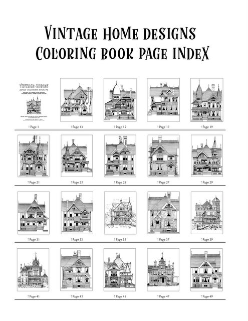 Vintage Homes Adult Coloring Book 2 - Classic Victorian Houses Index (1)