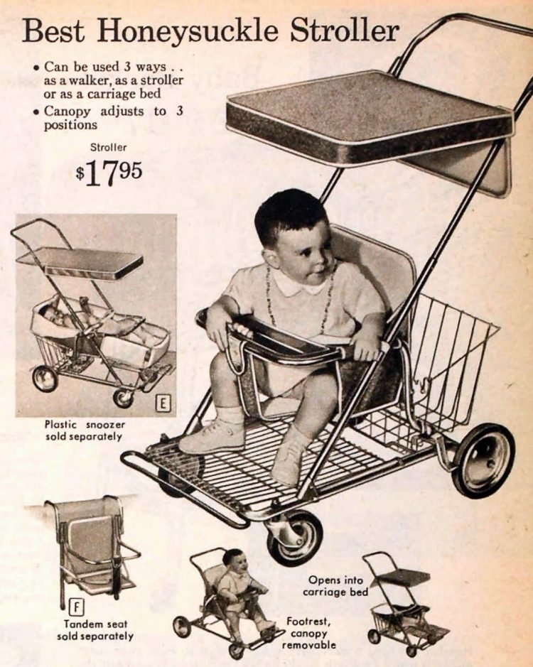 Vintage Honeysuckle stroller with canopy from 1959
