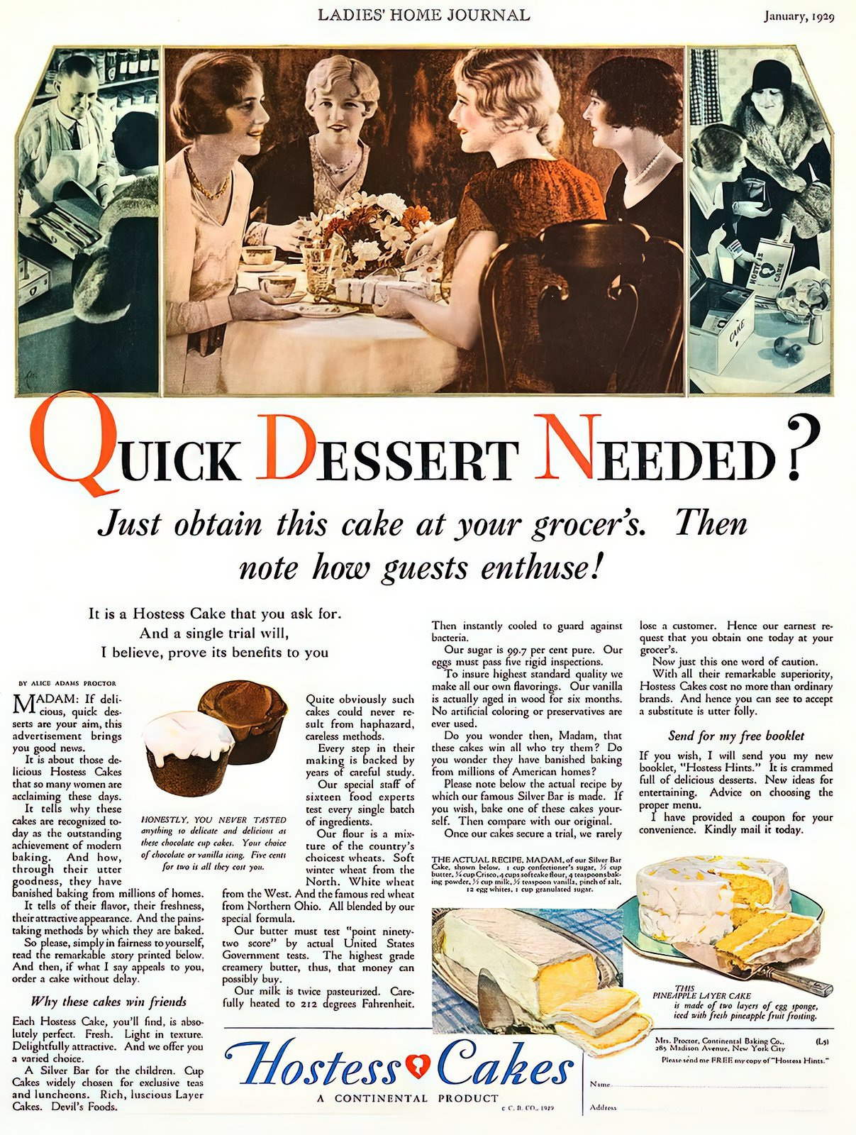 Vintage Hostess Cakes - antique ad from 1929