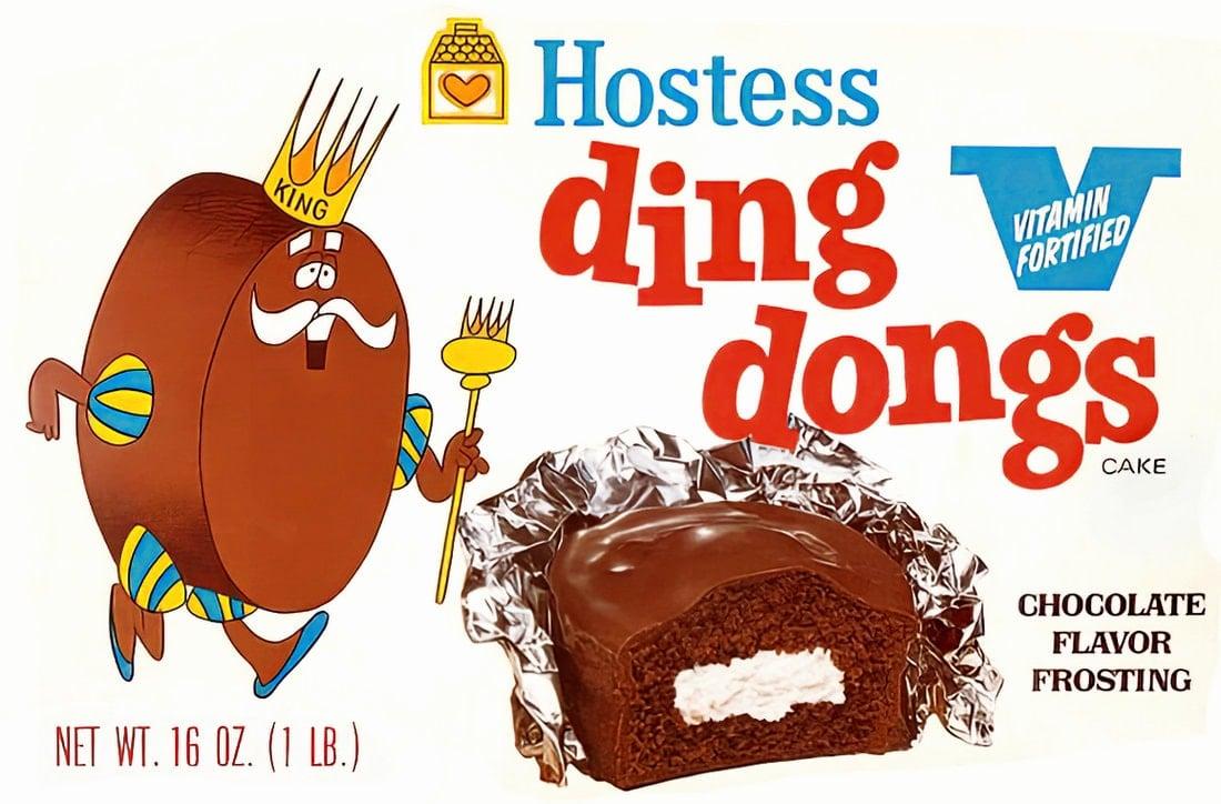 Vintage Hostess Ding Dongs chocolate cake snacks