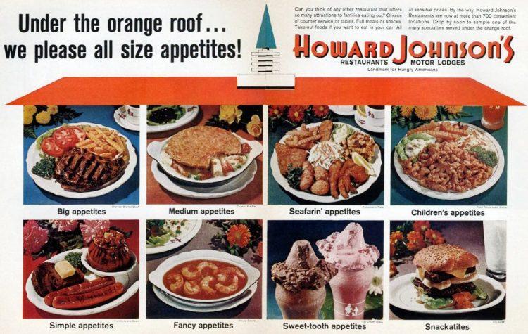 Vintage Howard Johnson's restaurants - Meals under the orange roof