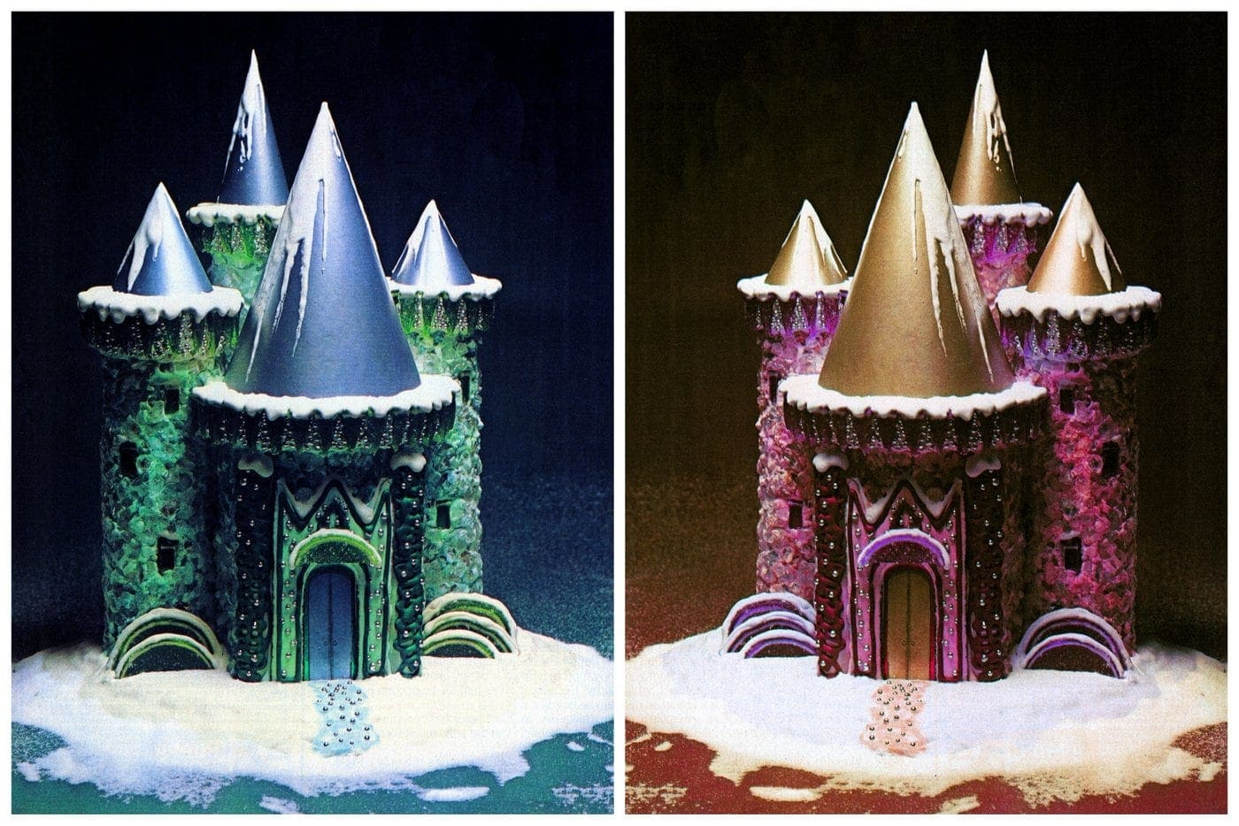 Vintage Ice Castle cake decorating