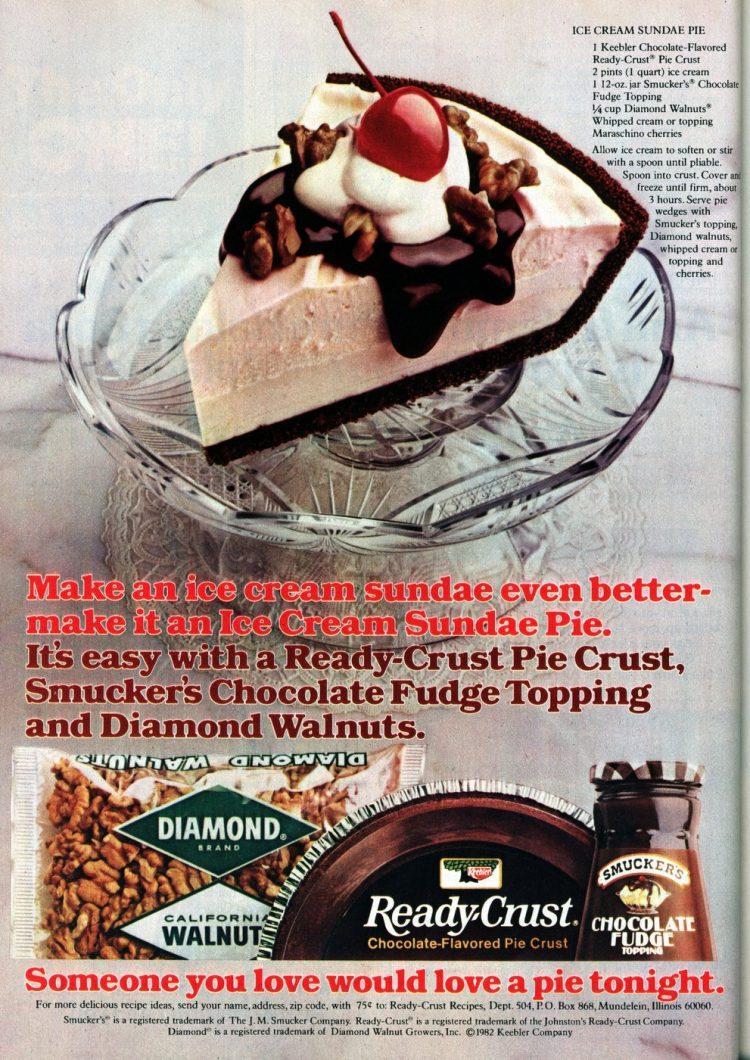 Vintage Ice cream sundae pie recipe (1982)