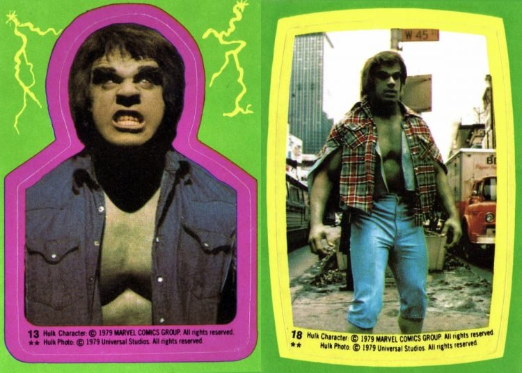 Vintage Incredible Hulk trading stickers
