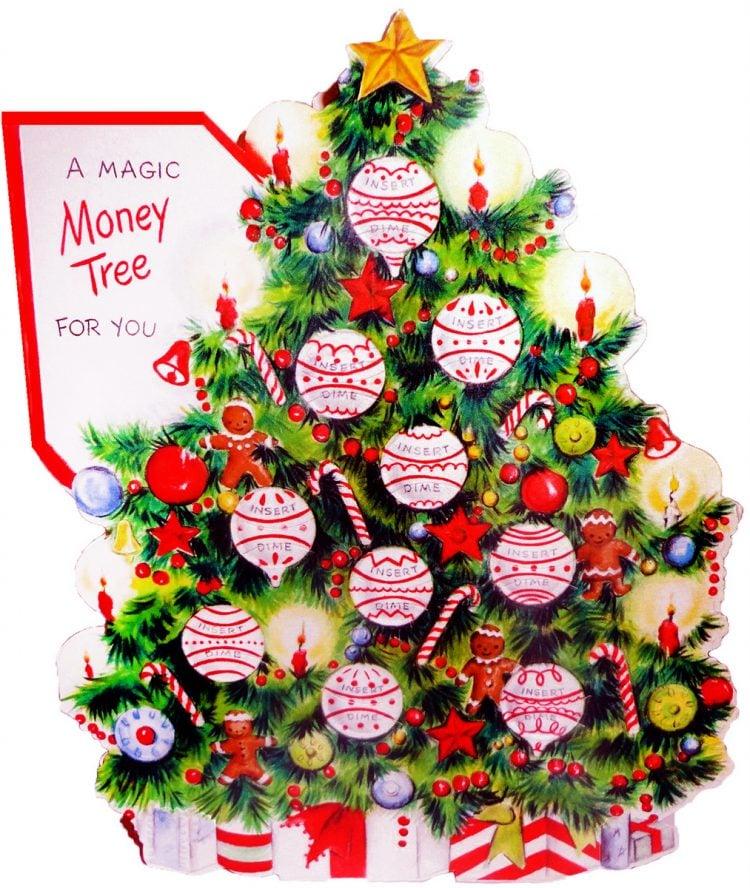 Vintage Insert Dime Christmas tree greeting card
