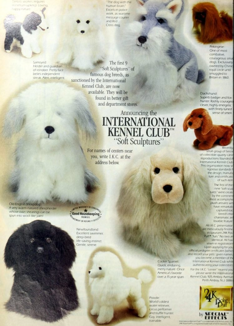 Vintage International Kennel Club soft sculptures - plush toys from 1985