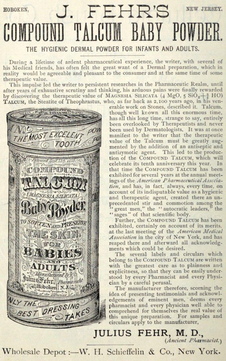 Vintage J Fehr's Compound talcum baby powder (1883)
