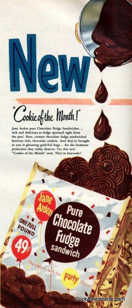 Vintage Jane Arden Pure Chocolate Fudge Sandwich Cookies (1956)
