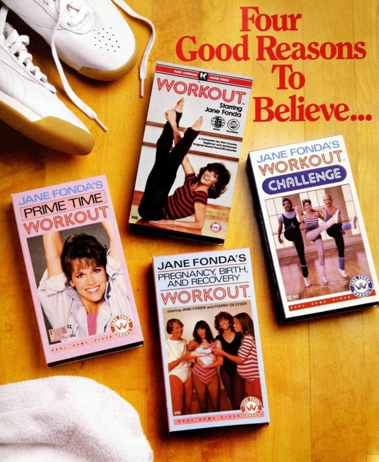 Vintage Jane Fonda workout videos on VHS