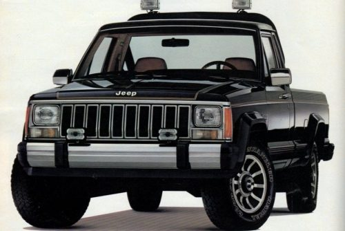 Vintage Jeep Comanche pickup trucks from the '80s