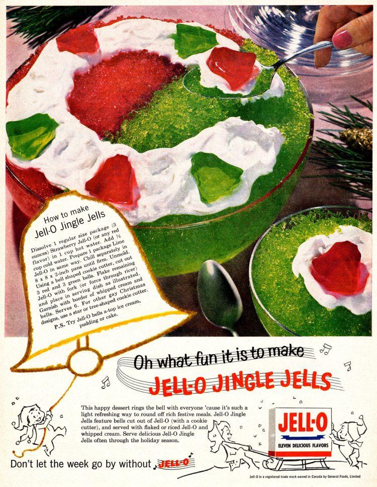 Vintage Jell-O Jingle Jells Christmas Jell-O recipe from 1959