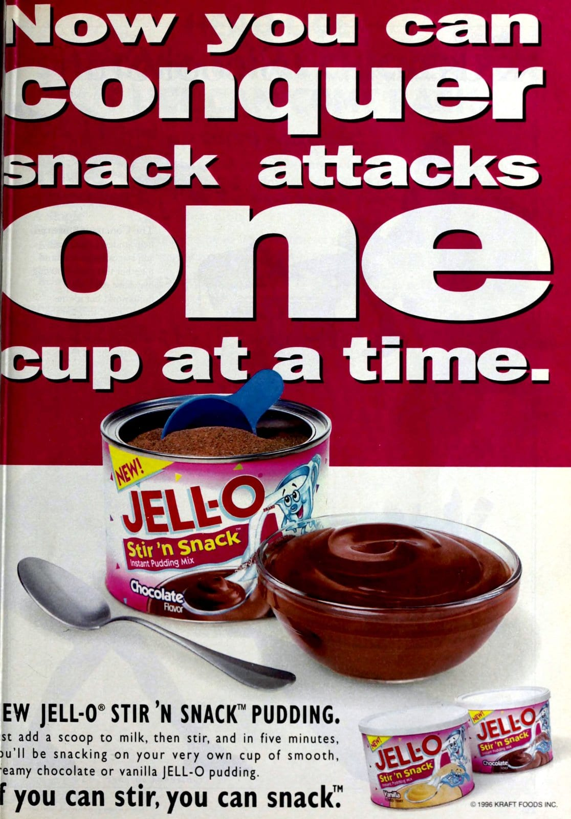 Vintage Jell-O Stir N Snack individual pudding mix cans (1996)