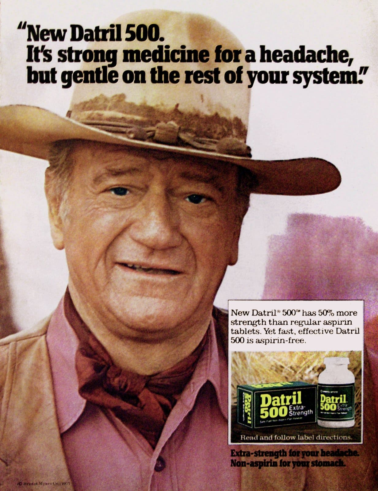 Vintage John Wayne for Datril 500 pain reliever (1970s)