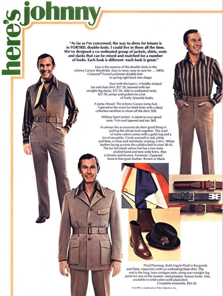 Vintage Johnny Carson suits from 1970