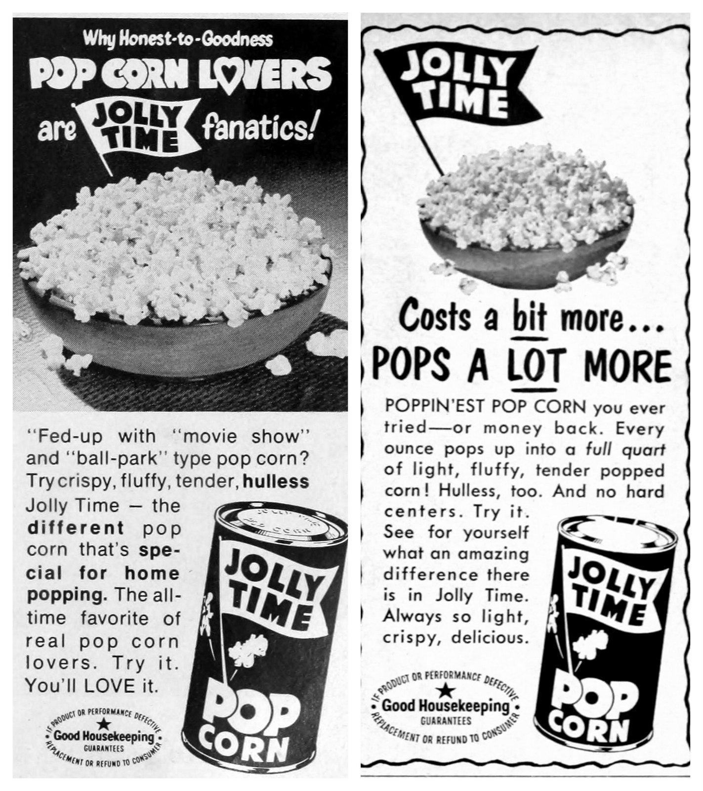 Vintage Jolly Time popcorn ads (late 1960s)