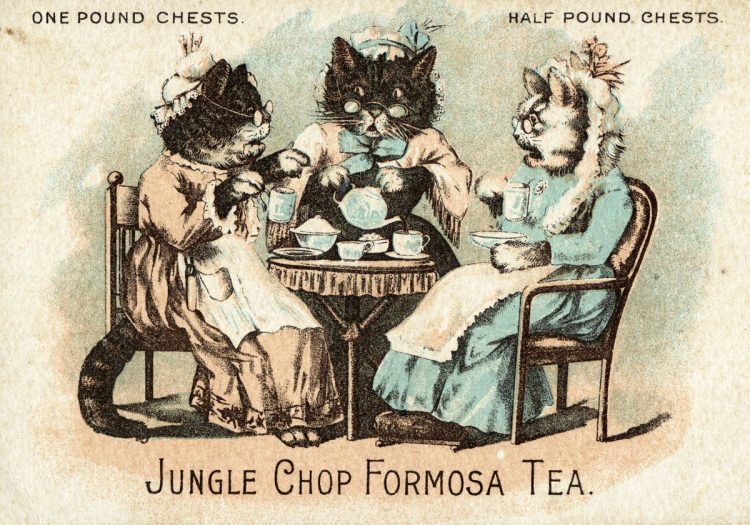 Vintage Jungle Chop Formosa tea - ad with cats