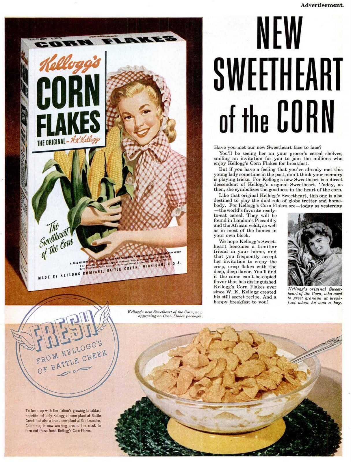 Vintage Kellogg's Corn Flakes breakfast cereal (1953)