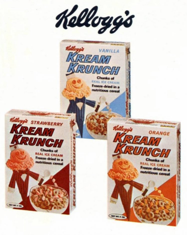 Vintage Kellogg's Cream Crunch old ice cream cereal from 1965