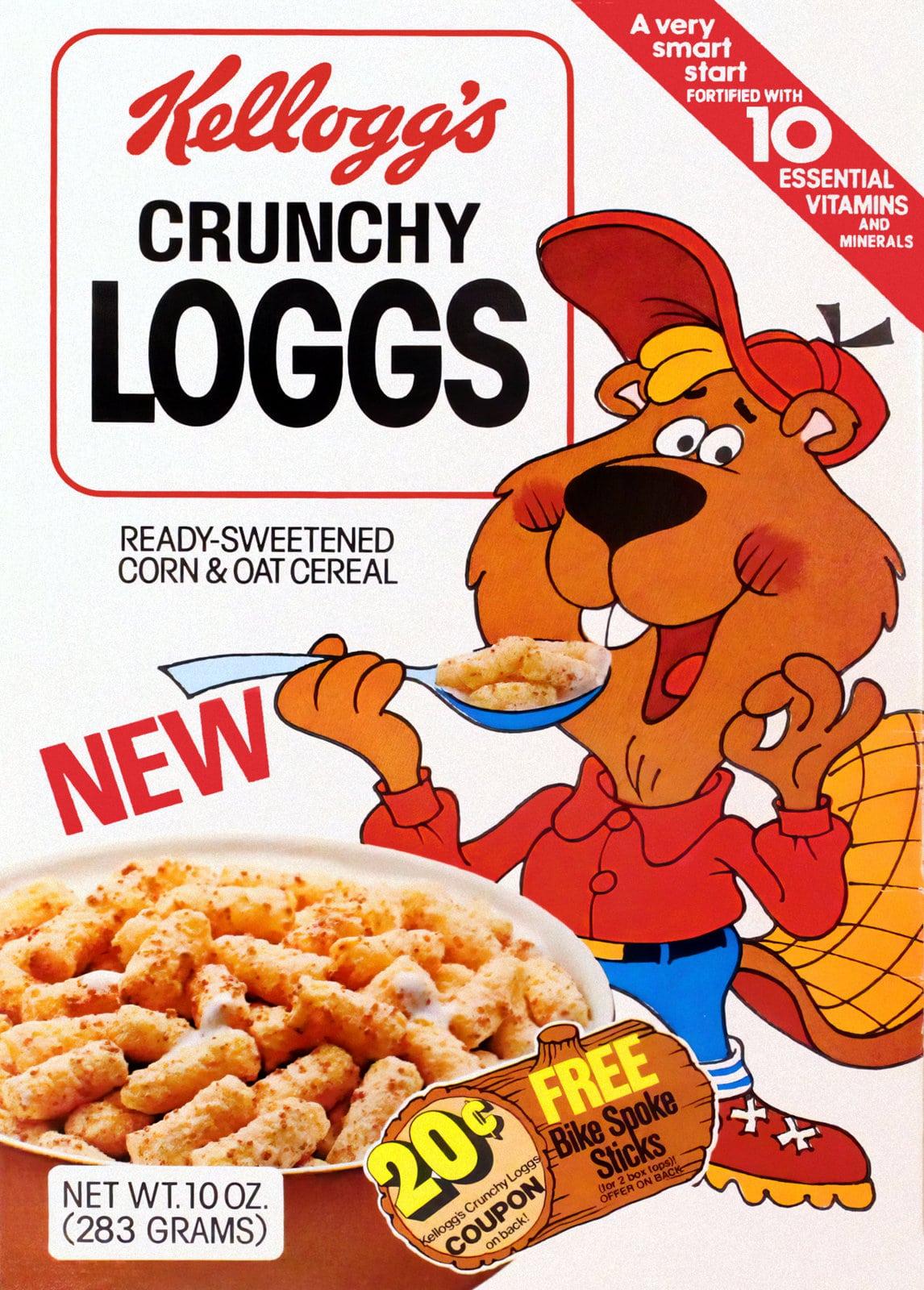 Vintage Kellogg's Crunchy Loggs box - Beaver mascot (1978)